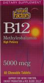 Buy B12 Methylcobalamin 5000 mcg 60 Chewable Tabs Natural Factors Online, UK Delivery, Vitamin B