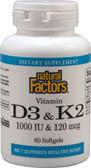 Buy Vitamin D3 & K2 60 sGels Natural Factors Online, UK Delivery, Vitamin D3