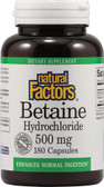 Buy Betaine HCL with Fenugreek 500 mg 180 Veggie Caps Natural Factors Online, UK Delivery, Enzymes