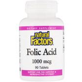 Buy Folic Acid 1000 mg 90 Tabs Natural Factors Online, UK Delivery, Folic Acid Prenatal Vitamin Pregnancy