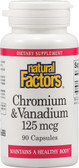 Buy Chromium & Vanadium 125 mcg 90 Caps Natural Factors Online, UK Delivery, Mineral Supplements