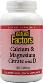 Buy Calcium & Magnesium Citrate With D 180 Tabs Natural Factors Online, UK Delivery, Mineral Supplements