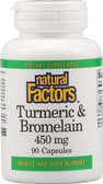 Buy Turmeric & Bromelain 450 mg 90 Caps Natural Factors Online, UK Delivery, Antioxidant Curcumin