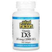 Buy Vitamin D3 1000 IU 180 sGels Natural Factors Online, UK Delivery, Stress Relief Remedy Formulas Anti Stress Treatment