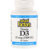 Buy Vitamin D3 1000 IU 90 Tabs Natural Factors Online, UK Delivery, Vitamin D3