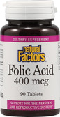 Buy Folic Acid 400 mcg 90 Tabs Natural Factors Online, UK Delivery, Folic Acid Prenatal Vitamin Pregnancy