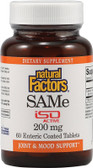 Buy SAMe ISO Active 200 mg 60 Enteric Coated Tabs Natural Factors Online, UK Delivery, Substance Abuse Detox Supplements Addiction Treatment S-Adenosyl Methionine SAME