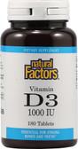 Vitamin D3, 1000IU, 180 Tabs, Natural Factors