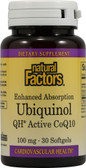 Buy Ubiquinol QH Active CoQ10 100 mg 30 sGels Natural Factors Online, UK Delivery, Antioxidant Ubiquinol CoQ10
