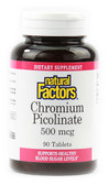 Buy Chromium Picolinate 500 mcg 90 Tabs Natural Factors Online, UK Delivery, Mineral Supplements