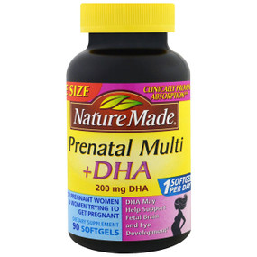 Prenatal Multivitamins + DHA 90 sGels Nature Made, UK Store