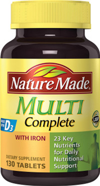 Buy Multi Complete with Iron 130 Tabs Nature Made Online, UK Delivery, Multivitamins