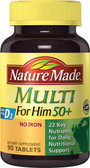 Buy Multi For Him 50+ No Iron 90 Tabs Nature Made Online, UK Delivery, Gluten Free Multivitamins For Men