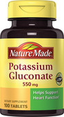 Buy Potassium Gluconate 550 mg 100 Tabs Nature Made Online, UK Delivery, Mineral Supplements