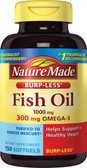 Buy Fish Oil Omega-3 1000 mg 150 Liquid sGels Nature Made Online, UK Delivery, EFA Omega EPA DHA