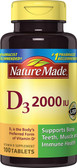 D3 Vitamin D Supplement 2000 IU 100 Tabs Nature Made