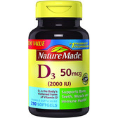 Buy D3 2000 IU 250 sGels Nature Made Online, UK Delivery, Vitamin D3