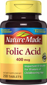 Buy Folic Acid 400 mcg 250 Tabs Nature Made Online, UK Delivery, Folic Acid Prenatal Vitamin Pregnancy