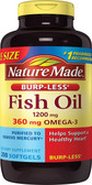 Buy Fish Oil Burp-Less 1200 mg 200 Liquid sGels Nature Made Online, UK Delivery, EFA Omega EPA DHA