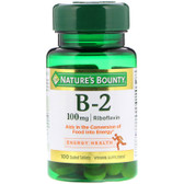 Buy Vitamin B-2 100 mg 100 Tabs Nature's Bounty Online, UK Delivery, Gluten Free Vitamin B2 Riboflavin