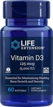 Life Extension Vitamin D3 5,000 IU 60 Softgels, UK Store