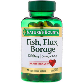 Buy Fish Flax Borage Omega 3-6-9 1200 mg 72 sGels Nature's Bounty Online, UK Delivery, EFA Omega EPA DHA