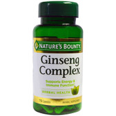Buy Ginseng Complex Plus Royal Jelly 75 Caps Nature's Bounty Online, UK Delivery, Energy Boosters Formulas Supplements Fatigue