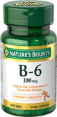 Buy Vitamin B-6 100 mg 100 Tabs Nature's Bounty Online, UK Delivery, Gluten Free Vitamin B6 Pyridoxine