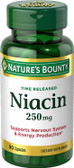 Buy Niacin Time Released 250 mg 90 Caps Nature's Bounty Online, UK Delivery, Vitamin B3 Niacin
