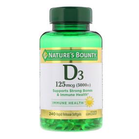 Buy D3 Maximum Strength 5000 IU 240 sGels Nature's Bounty Online, UK Delivery, Gluten Free Vitamin D3