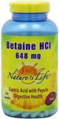 Buy Betaine HCl 648 mg 250Caps Nature's Life Online, UK Delivery, Betaine HCL Digestive Enzymes