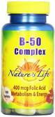Buy B- 50 Complex 100 Tabs Nature's Life Online, UK Delivery, Vitamin B Complex