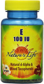 Buy E Natural D-Alpha & Mixed Tocopherols 100 IU 100 sGels Nature's Life Online, UK Delivery, Vitamin E Mixed Tocopherols