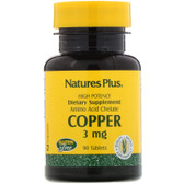 Buy Copper 3 mg 90 Tabs Nature's Plus Online, UK Delivery, Mineral Supplements