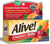 Buy Alive! Energy Multivitamin-Multimineral For Adults 50+ 60 Tabs Nature's Way Online, UK Delivery,
