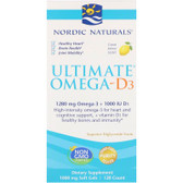 Buy Ultimate Omega-D3 Lemon 1000 mg 120 sGels Nordic Naturals Online, UK Delivery, EFA Omega EPA DHA
