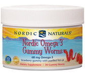 Nordic Omega-3 Gummy Worms Strawberry Gummy, 30 Count, Nordic Naturals