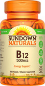 Buy B-12 High Potency 500 mcg 200 Tabs Rexall Sundown Naturals Online, UK Delivery, Vitamin B12 Cyanocobalamin