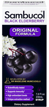 Buy Black Elderberry Original Formula 7.8 oz (230 ml) Sambucol Online, UK Delivery, Cold Flu Remedy Relief Treatment Elderberry Sambucus Immune Support