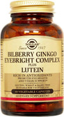 Buy Bilberry Ginkgo Eyebright Complex Plus Lutein 60 Veggie Caps Solgar Online, UK Delivery, Antioxidant