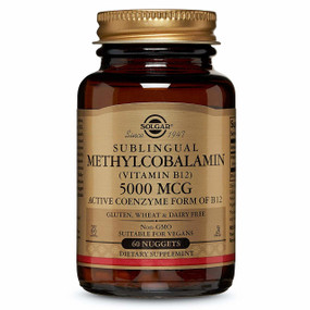 Buy Sublingual Methylcobalamin 5000 mcg 60 Nuggets Solgar Online, UK Delivery, Vitamin B