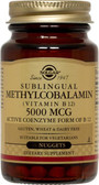 Buy Sublingual Methylcobalamin 5000 mcg 60 Nuggets Solgar Online, UK Delivery, Vitamin B