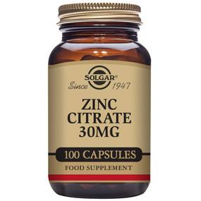 Buy Zinc Citrate 30 mg 100 Veggie Caps Solgar Online, UK Delivery, Mineral Supplements