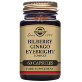 Buy Bilberry Ginkgo Eyebright Complex 60 Veggie Caps Solgar Online, UK Delivery