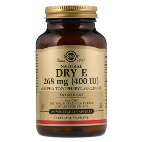Buy Natural Dry E 400 IU 100 Veggie Caps Solgar Online, UK Delivery, Gluten Free Antioxidant