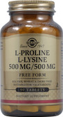 Buy L-Proline/L-Lysine Free Form 500mg/500 mg 90 Tabs Solgar Online, UK Delivery