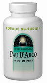 Buy Pau D'Arco 500 mg 250 Tabs Source Naturals Online, UK Delivery, Herbal Remedy Natural Treatment