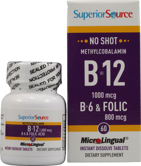 Buy Methylcobalamin B-12 1000 mcg B-6 & Folic Acid 800 mcg MicroLingual 60 Tabs Superior Source Online, UK Delivery, Vitamin B12 Methylcobalamin