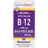 Buy Methylcobalamin B-12 1000 mcg B-6 & Folic Acid 400 mcg MicroLingual 60 Tabs Superior Source Online, UK Delivery, Vitamin B12 Methylcobalamin