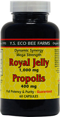 Buy Royal Jelly Propolis 1 000 mg/400 mg 60 Caps Y.S. Eco Bee Farms Online, UK Delivery, Bee Supplements